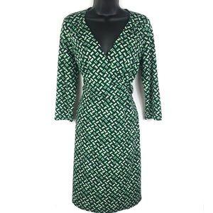 Ann Taylor LOFT Green Black White Wrap Dress 8P